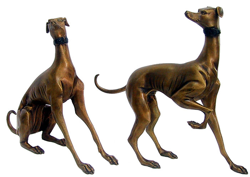 Bronze Whippet Dog Statues - DD 1041