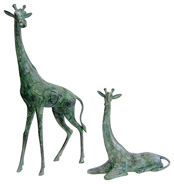 Bronze Giraffe & Calf Statues - DD 1068