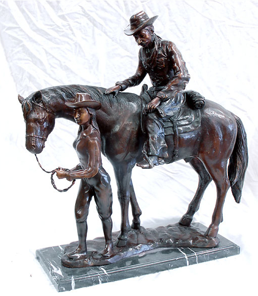 Bronze Cowboy and Cowgirl w/Horse Statues - AF 18005