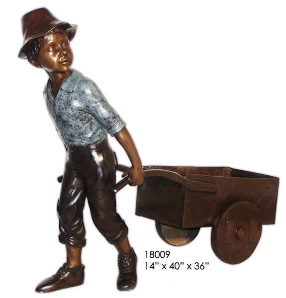 Bronze Boy Pulling Wheelbarrow Statue - AF 18009