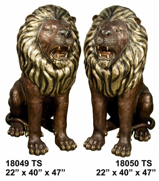 Bronze Lion Statues - AF 18049-50TS
