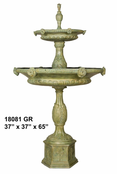 Bronze Rose Tiered Fountain - AF 18081GR