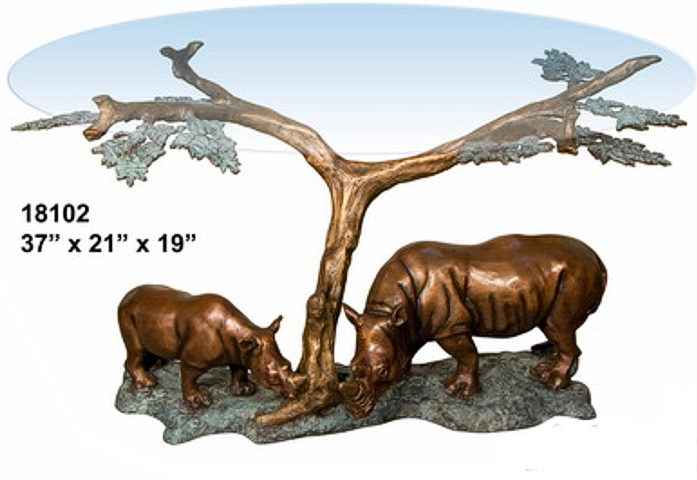 Bronze Rhinoceros Table - AF 18102
