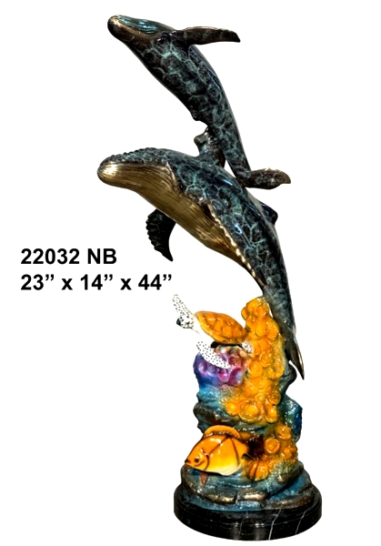 Bronze Humpback Whale & Calf Statue - AF 22032 NB