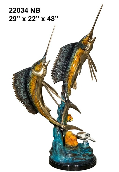 Bronze Sailfish Sculpture Statue - AF 22034 NB