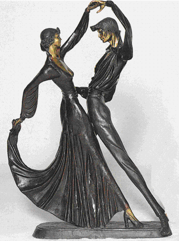 Bronze Elegant Tango Statue By Chiparus. - ASB 245J