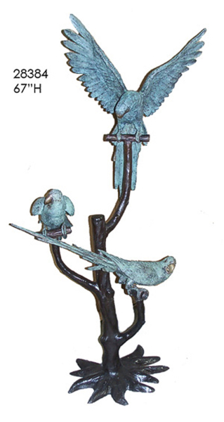 Bronze Parrots in Tree Statues - AF 28384