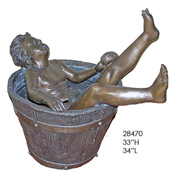 Bronze Boy Tub Fountain - AF 28470