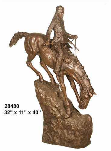 Bronze Remington Mountain Man Statue - AF 28480