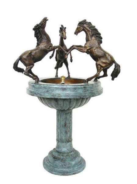 Bronze Horse & Bowl Fountain - AF 28665