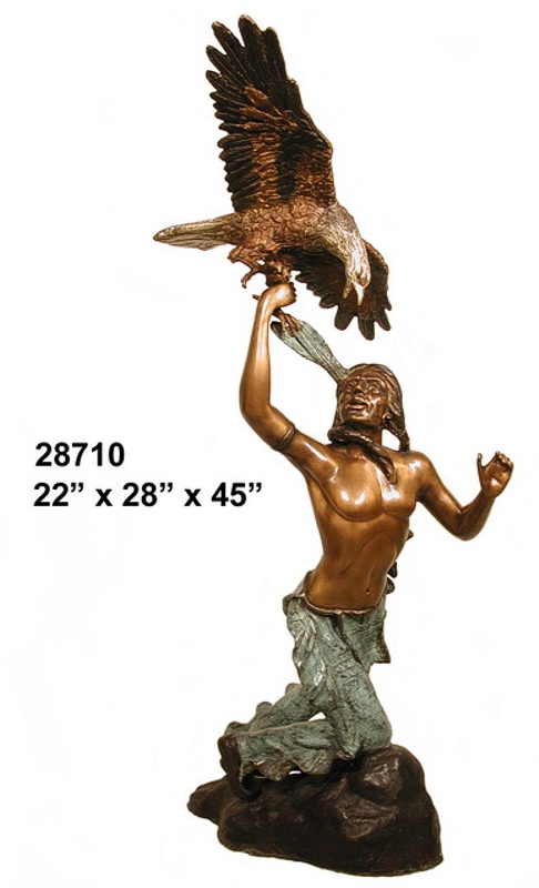 Bronze Indian Warrior w/ Eagle Statue - AF 28710