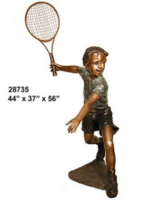 Bronze Boy Tennis Player Statues - AF 28735