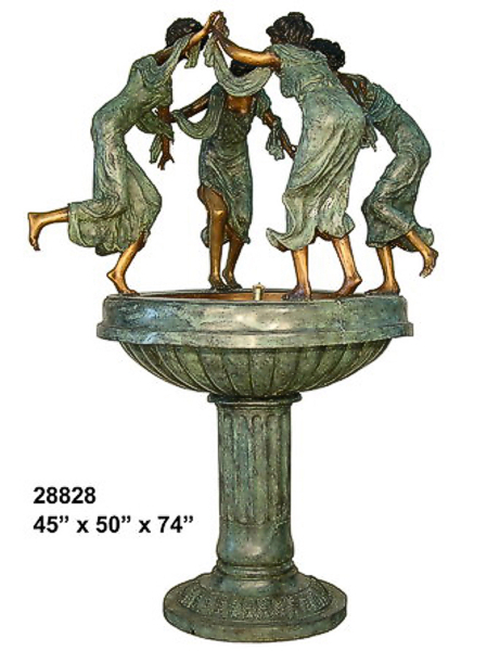 Bronze Dancing Maiden's Bowl Fountain - AF 28828
