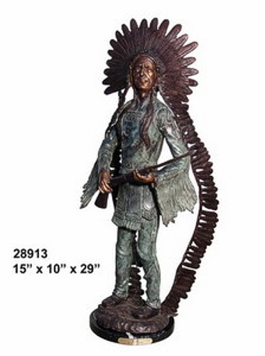 Bronze Indian Rifle Statue - AF 28913M