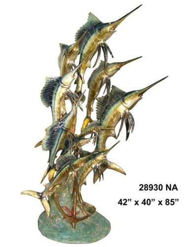 Bronze Swordfish Statue Sculpture - AF 28930 NA-S