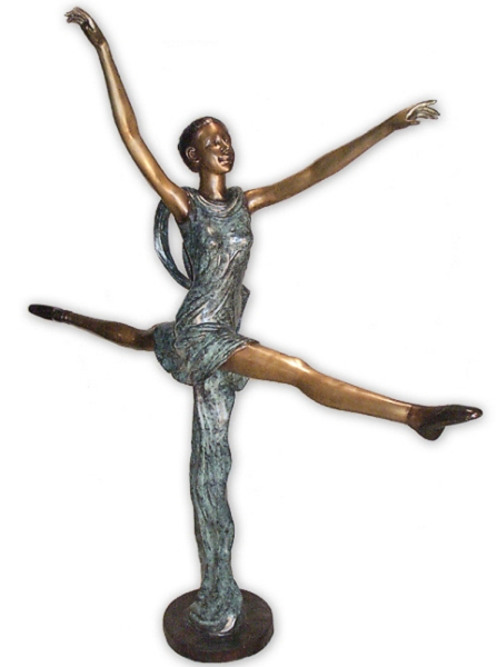 Bronze Jumping Ballerina Statue - AF 28936