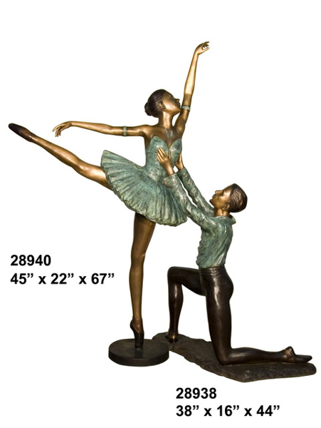 Bronze Man & Woman Ballerina Statue - AF 28938-40