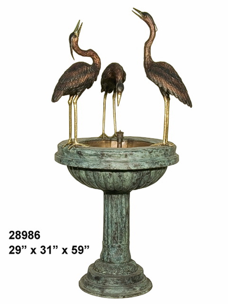 Bronze Crane Fountains - AF 28986