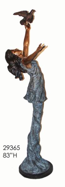 Bronze Lady Holding Bird Statue - AF 29365