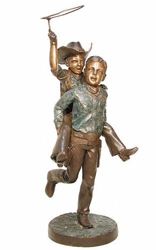 Bronze Boys with Lasso Statue - AF 29405