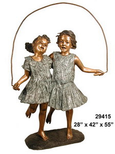 Bronze Girls Jumping Rope Statues - AF 29415