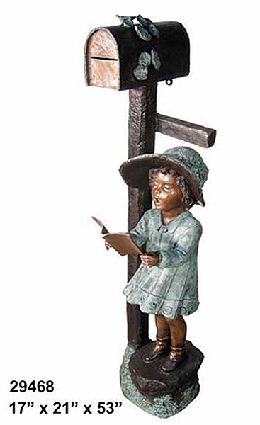 Bronze Girl Reading Mailbox - AF 29468