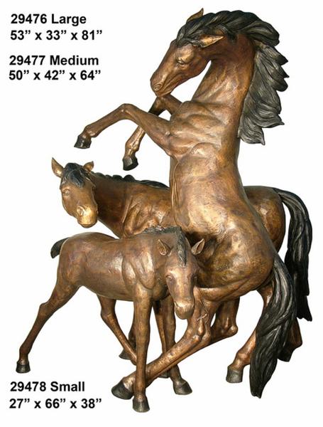 Bronze Rearing Horse Statue - AF 29476-78