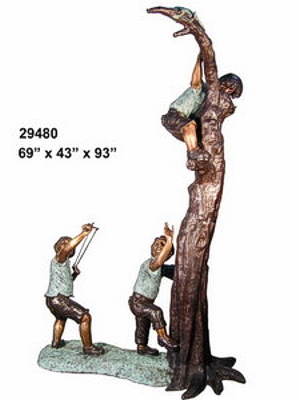 Bronze Boys Climbing Tree Statue - AF 29480