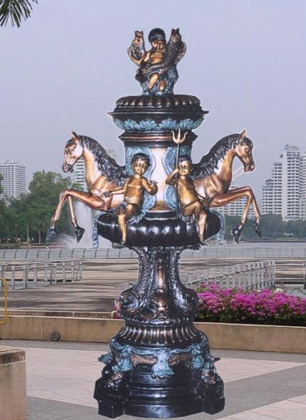 Bronze Horse & Cherub Fountain - BB 302-23