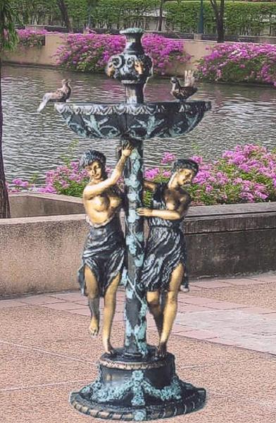 Bronze Ladies & Birds Fountain - BB 308-17