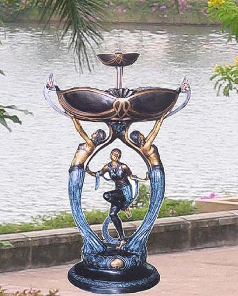 Bronze Ladies Unique Bowl Fountain - BB 312-19