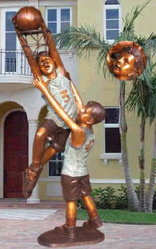 Bronze Boys Playing Basketball Statue - KT 375-12