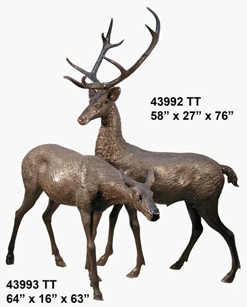 Bronze Deer Buck Statues - AF 43992 TT