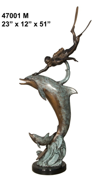 Bronze Dolphin Statue - AF 47001M