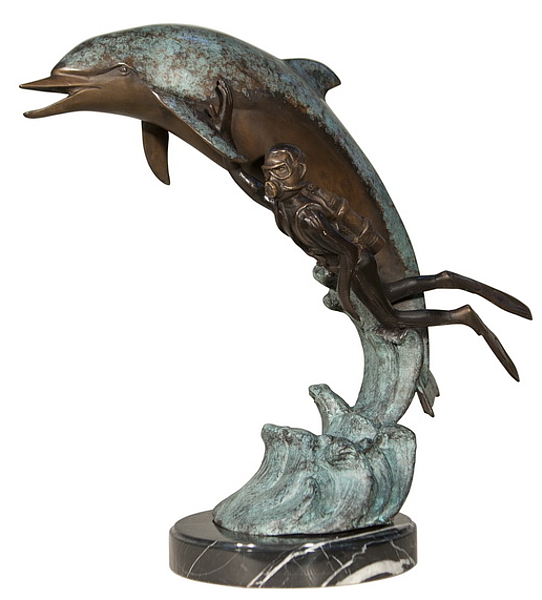 Bronze Dolphin Statue - AF 47005M