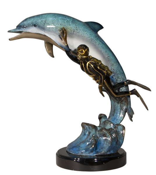 Bronze Dolphin Statue - AF 47005NA