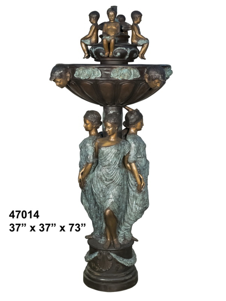 Bronze Mother Children Fountain - AF 47014