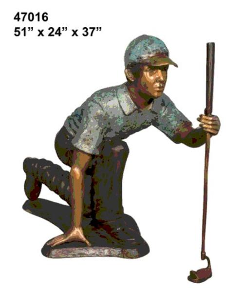 Bronze Golfer Putting Statue - AF 47016