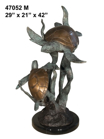 Bronze Turtles Marble Base Statue - AF 47052M