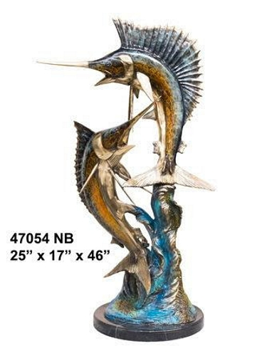 Bronze Sailfish Sculpture Statue - AF 47054NB