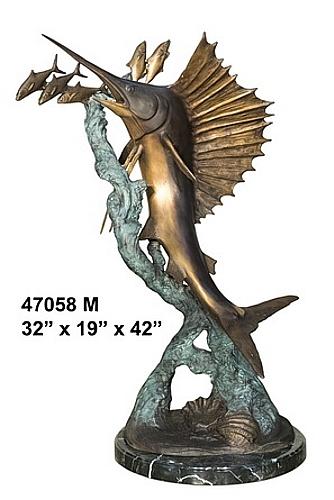 Bronze Swordfish Statue - AF 47058M