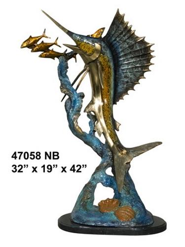 Bronze Swordfish Statue Sculpture - AF 47058NA
