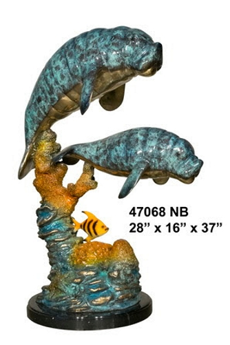 Bronze Manatee & Calf Statue - AF 47068NB