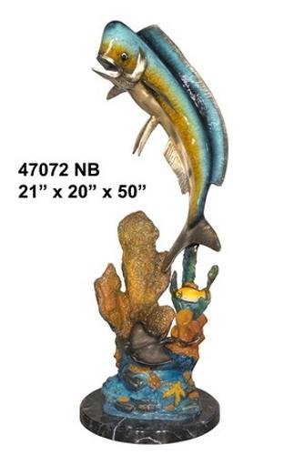 Bronze Jumping Dorado Statue - AF 47072NB