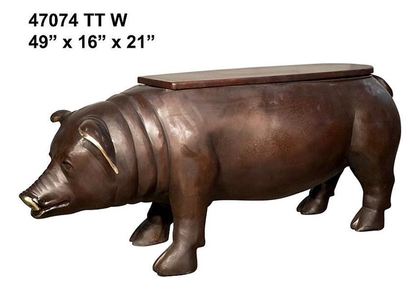 Bronze Pig Bench - AF 47074 TT W