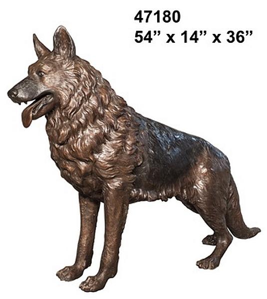Bronze Life Size German Shepherd Statue - AF 47180