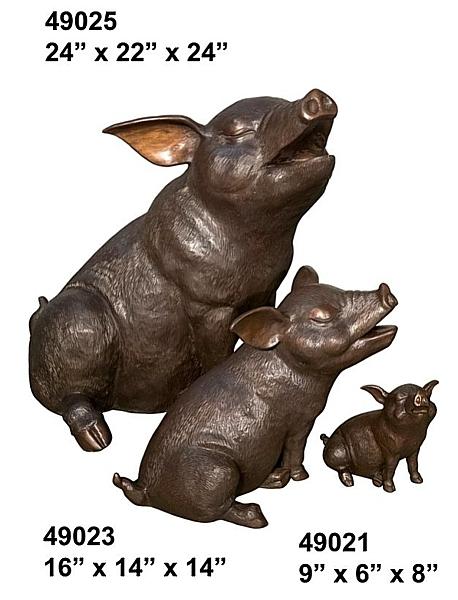 Bronze Pig Family Statue - AF 49021-23-25