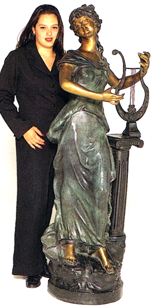 Bronze Harp Girl Statue - ASB 498