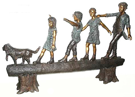 Bronze Kids Tree Log Statue - AF 50195