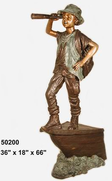 Bronze Boy Telescope Explorer  Statue - AF 50200